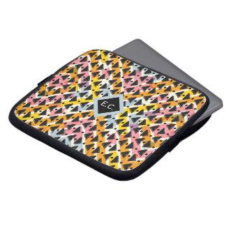 Monogram aztec paperchain pink blue yellow black laptop sleeve