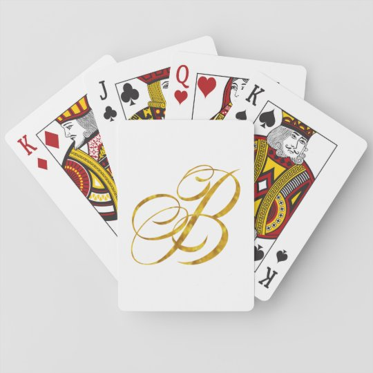 Monogram B Faux Gold Foil Metallic Letter Design Playing Cards