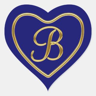 Monogram B in 3D gold REV1 Heart Sticker