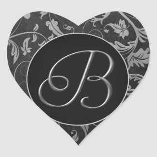 Monogram B Silver and Black Damask Wedding Seal Heart Sticker