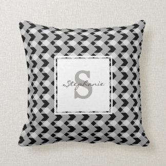 Monogram, B&W gingham chevron, personalize w name Throw Pillow