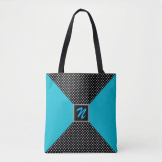 Monogram B/W Polka Dots and Aqua Blue Tote Bag