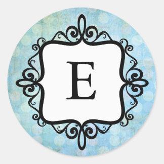 Monogram Baby Announcement Envelope Seal Round Sticker