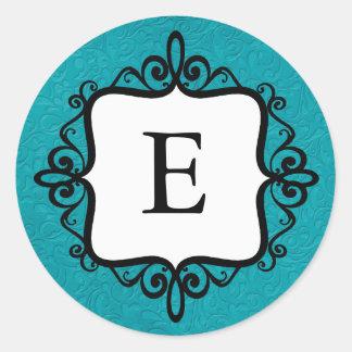 Monogram Baby Announcement Envelope Seal Classic Round Sticker