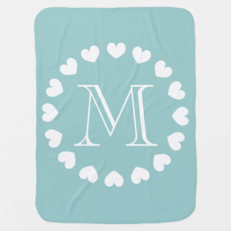 Monogram baby blanket | turquoise and white hearts