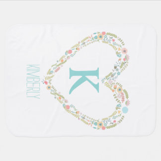 Monogram baby blanket with floral heart frame