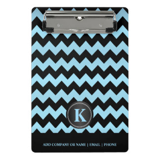 Monogram Baby Blue & Black Chevron Stripes Mini Clipboard