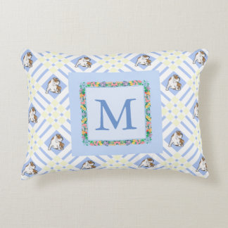 Monogram Baby Blue English Bulldog Decorative Pillow