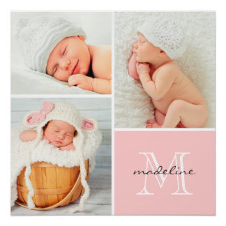 Monogram Baby Photo Collage Poster Perfect Poster