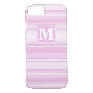 Monogram baby pink stripes iPhone 7 case