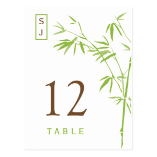 Monogram Bamboo Table Number Card   Green & Brown