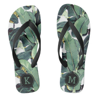 Monogram Banana Leaves Palm Tree Flip Flops