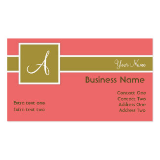 Monogram Band Salmon & Sage Business Cards