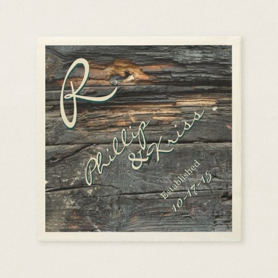 Monogram Barn Wood Wedding Napkins Disposable Napkin