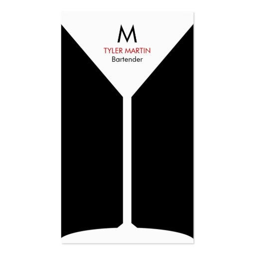 Monogram Bartending Business Card - Black & White