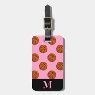 Monogram Basketball Balls, Carnation Pink Luggage Tag