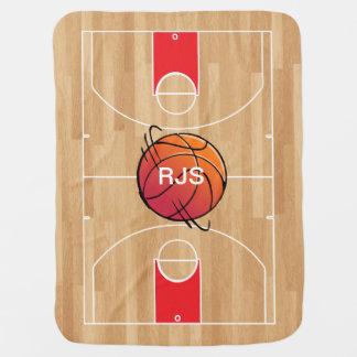 Monogram Basketball on basketball court Swaddle Blanket
