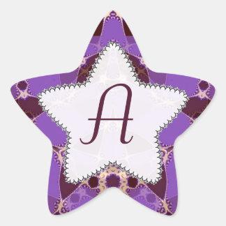 Monogram Batik Purple Star Sticker