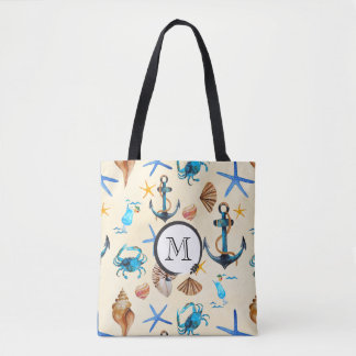 Monogram Beach And Sea Life Themed Pattern Tote Bag