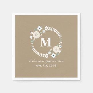 Monogram Beach Wreath Wedding Napkins