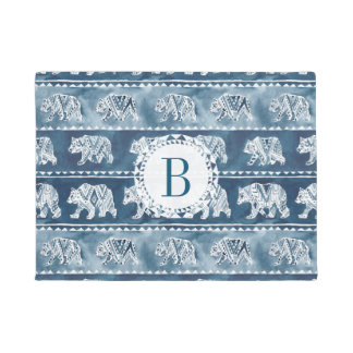 Monogram BEAR SPIRIT Navy Boho Tribal Doormat