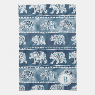 Monogram BEAR SPIRIT Navy Boho Tribal Kitchen Towel