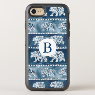 Monogram BEAR SPIRIT Navy Boho Tribal OtterBox Symmetry iPhone 8/7 Case