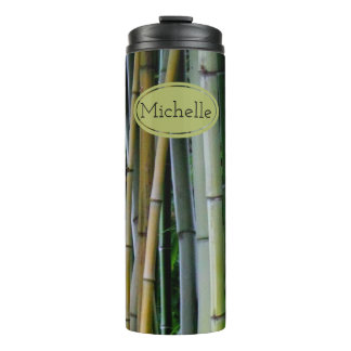 Monogram Beautiful Bamboo Grove Green Yellow Gray Thermal Tumbler