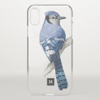 Monogram. Beautiful Blue Jay. Bird Illustration. iPhone X Case