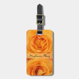 Monogram Beautiful Yellow Orange Hybrid Tea Roses Bag Tag
