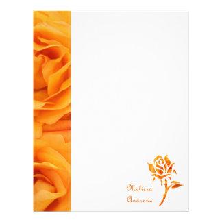 Monogram Beautiful Yellow Orange Hybrid Tea Roses Customized Letterhead