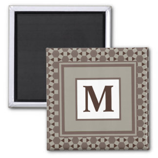Monogram Beige and Brown Tessellation Pattern Square Magnet