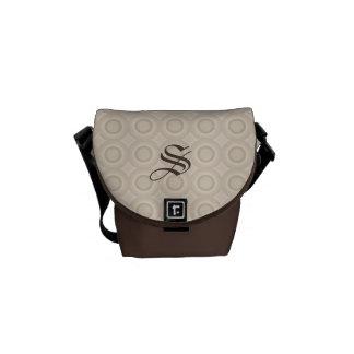 Monogram Beige/Brown Circles Pattern Custom Bag Commuter Bags