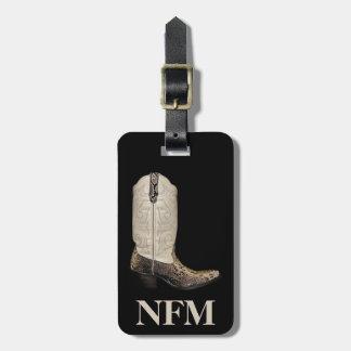 Monogram Beige Brown Snakeskin Cowboy Boot Luggage Tag