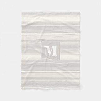 Monogram beige stripes fleece blanket