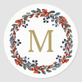 Monogram Berries Wreath Christmas Holiday Classic Round Sticker