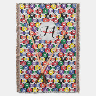 Monogram Billiards Ball Pattern Throw Blanket
