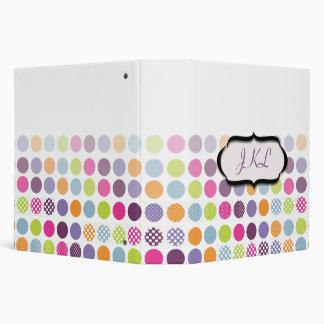Monogram binders, colorful polka dots binders
