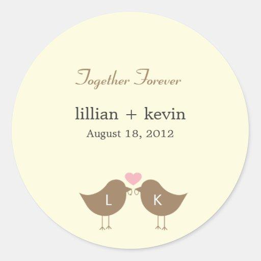 Monogram Birds Wedding Favor Sticker - Latte Round Stickers