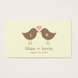 Monogram Birds Wedding Favor Tags - Latte