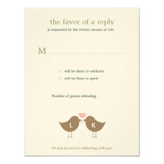 Monogram Birds Wedding RSVP/Response Card - Latte