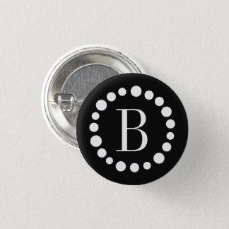 Monogram Black 1 Inch Round Button