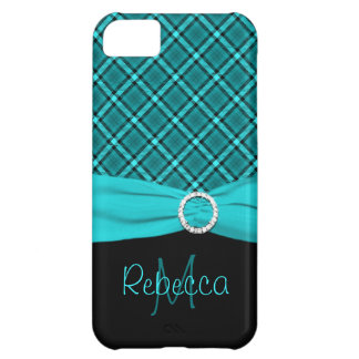 Monogram Black and Blue Plaid iPhone 5 Vibe Case For iPhone 5C