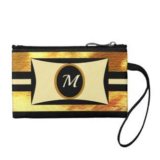 Monogram black and gold coin purse