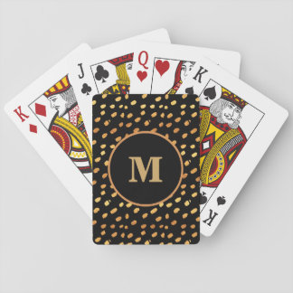 Monogram Black and Gold Confetti Playing Card