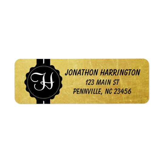 Monogram Black and Gold Return Address Labels