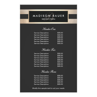 Monogram Black and Gold Stripes Price List Menu