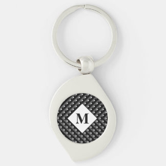 Monogram Black and Grey Angled lines Silver-Colored Swirl Keychain