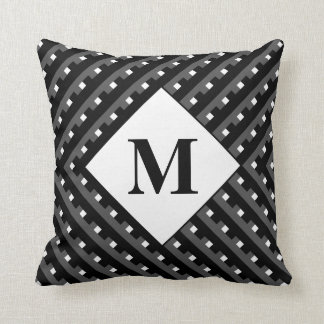 Monogram Black and Grey Angled lines Throw Pillow