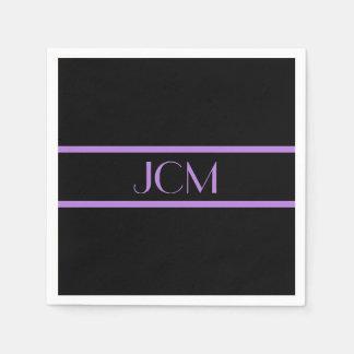 Monogram Black and Lavender Purple Stripe Disposable Napkins